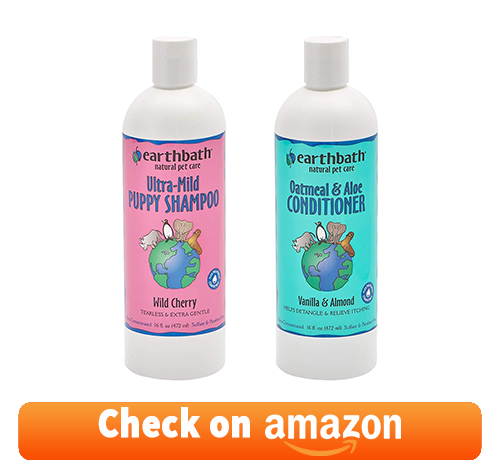 Earthbath Ultra-Mild Puppy Shampoo and Oatmeal & Aloe Conditioner Grooming Bundle