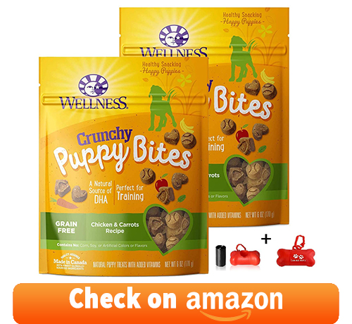 Wellness Crunchy Puppy Bites Natural Grain Free Puppy Training Treats, enriched in Natural Sources, chicken & carrots recipe